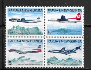 Papua & New Guinea #308a Air Craft  block of 4 (M) CV $1.60