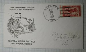 Bohemia Mining District Lane County OR Gold at Sailor Gulch 1958 Event Cover