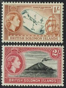 BRITISH SOLOMON ISLANDS 1956 QEII PICTORIAL 1/- AND 2/- MNH **