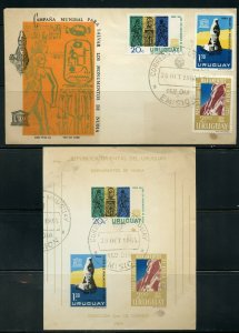 URUGUAY 10/30/1964 NUBIAN MONUMENTS SET ON FDC AND S/S FD CANCEL AS SHOWN