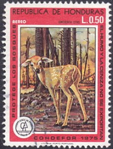 Honduras # C596 used ~ 50¢ Fawn In Burnt-Out Forest