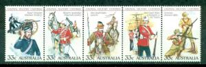 Australia 1985  #945 Soldiers Uniforms Weapons Strips of 5 MNH