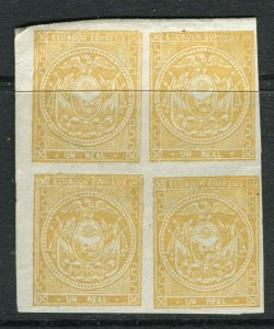 ECUADOR; 1865 early classic Imperf issue 1r. yellow Mint BLOCK of 4