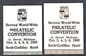 USA Philatelic Cinderella 2nd WW Phil. Convention Detroit MI 1940 WRONG DATES!