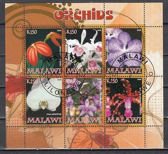 Malawi, 2008 Cinderella issue. Orchids sheet of 6. Canceled.