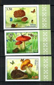 Tajikistan 2019 butterflies mushrooms frogs set of 3v MNH imperforated