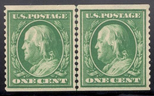 US Stamp #387 Line Pair One Cent Washington Coil MINT Hinge SCV $1250