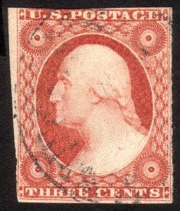 1851, US 3c, Washington, Used, Sc 11A