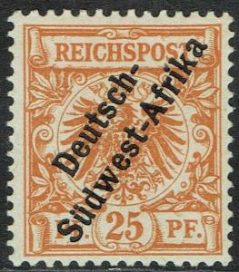 GERMAN SOUTH WEST AFRICA 1897 EAGLE OVERPRINTED 25PF UNISSUED
