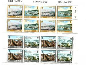 Guernsey   1983 . Mint  strips of 4 sets VF NH