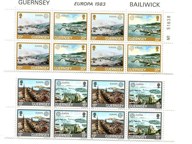 Guernsey   1983 . Mint  strips of 4 sets VF NH