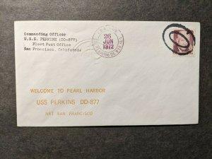 USS PERKINS DD-877 Naval Cover 1972 PEARL HARBOR, OAHU, HAWAII Cachet
