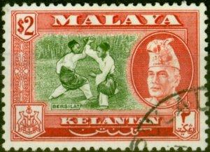 Kelantan 1963 $2 Bronze-Green & Scarlet SG93a P.13 x 12.5 Superb Used