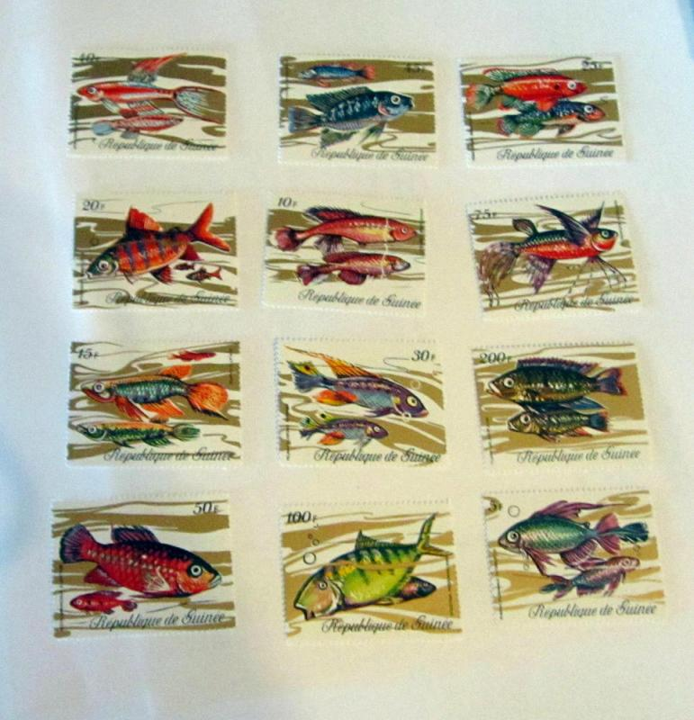 Guinea - 570-81, MNH Set. Fish from Guinea. SCV - $13.15