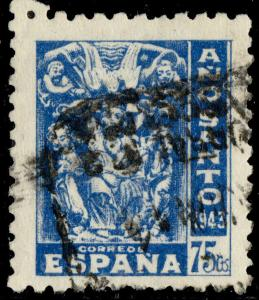 ESPAGNE / SPAIN / ESPANA - 1943 Ano Santo 75c azul - Ed.966/Mi.912  - UsadoTB