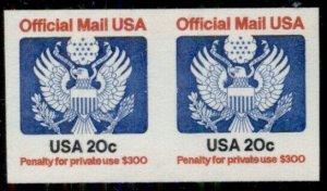 US #O135a, 20¢ Official, Imperf Pair, og, NH, VF, rare, Scott $1,000.00+