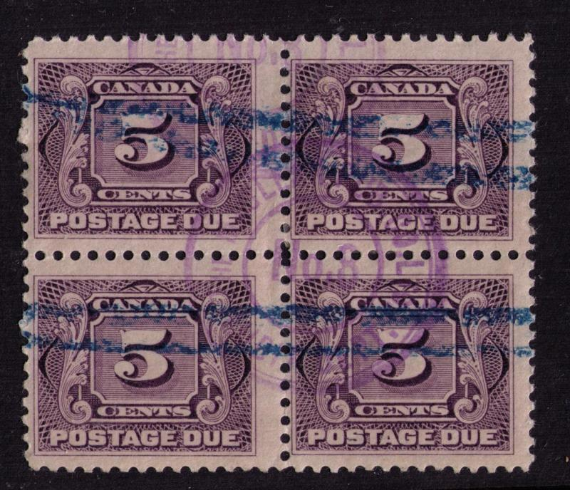 Canada #  J4  Used  VF CDS stamp  block of 4  Cat $ 10++