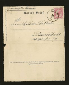 Austria Postmarked Imst 1895 5 Kreuzer Karten-Brief Postal Card Used