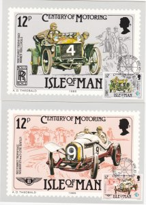 Isle of Man # 284-286, Century of Racing Autos, Maxi Cards, First Day