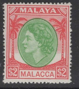MALAYA MALACCA SG37 1955 $2 EMERALD & SCARLET MNH
