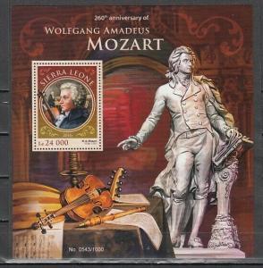 Sierra Leone, 2016 issue. Composer Mozart s/sheet. ^