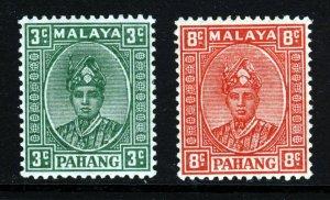 PAHANG MALAYSIA 1935-41 Sultan Abu Bakar 3c & 8c Striated SG 31a & SG 36 MINT