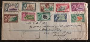 1956 Pitcairn Island Cover To Meteorological Station Geneva Switzerland 1-8