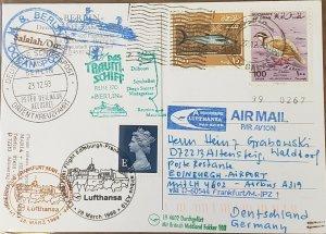 Lufthansa Ocen Post Card Edinburgh To Frankfurt Via Oman Salalah 1999