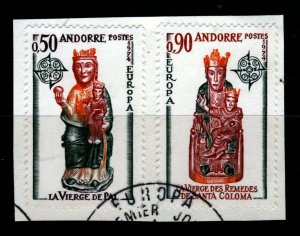 ANDORRA (French) 1974 Europa Church Sculptures FDC Cxl ON PIECE SG F256/F257 VFU