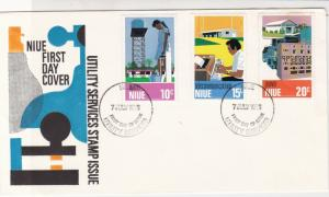 NIUE Island 1976 Utility Services Stamp Issue Stamps FDC Cover Rf 28571