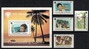 Dominica #613-7* NH  CV $5.25  Year of Child 1979 set & Souvenir sheet