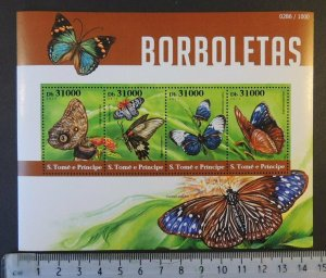 St Thomas 2015 butterflies insects flowers m/sheet mnh #2