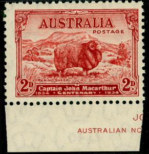 AUSTRALIA SG150, 2d carmine-red DIE A, UNMOUNTED MINT MARGINAL.
