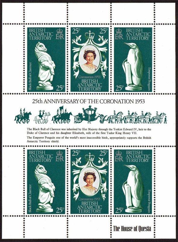 British Antarctic Territory 71 S/S, MNH. QE II Coronation 25th anniv. 1978