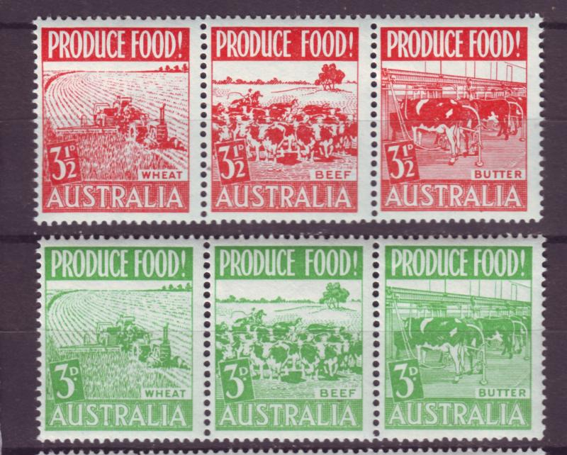 J16486 JLstamps 1953 australia strips of 3 set mnh #252a-5a farming