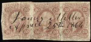 475 U.S. revenue R41a strip of 3, 20-cent Foreign Exchange imperf, SCV = $495