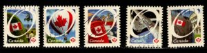 Canada - #2419 - 2423 Flag over Canadian Scenes set/5 - Used