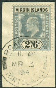 BRITISH VIRGIN ISLANDS-1904 2/6 Green & Black.  A fine used on small piece Sg 61