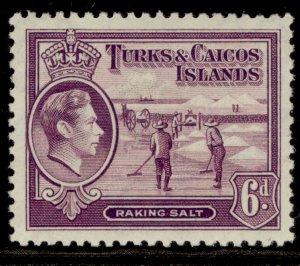 TURKS & CAICOS ISLANDS GVI SG201, 6d mauve, M MINT. Cat £22.