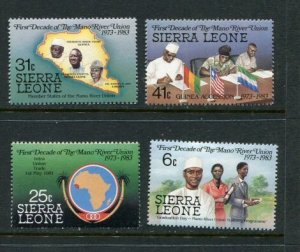 Sierra Leone MNH 610-3 1st Decade Of Mann River Union