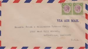 British Honduras 10c KGV (2) 1937 Belize, British Honduras Airmail to Louisvi...