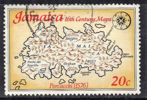 JAMAICA SC# 407 **USED** 20c  1976  MAP SEE SCAN