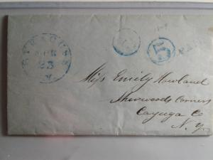 STAMPLESS  LETTER W/ BLUE CANCEL !!  AMERICAN POSTAL HISTORY 1849 !! WOW !!!!