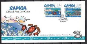 Samoa, Scott cat. 1033-1034. Marine Protection Areas. Turtles  First Day Cover.^