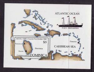 Dominica-Sc#918-unused NH sheet-Ships-1985-QEII visit-Maps-H