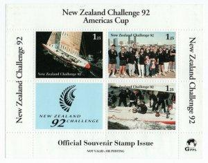 (I.B) New Zealand Cinderella : Americas Cup 1992 Mini-Sheet (sheet 7)