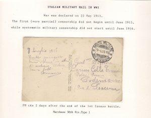 Italia 1915 POSTA MILITARE 30A DIVISIONE Italy WW1 Military Mail Postcard