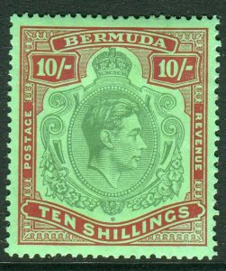 BERMUDA-1938-53 10/- Bluish Green & Deep Red Green chalky paper.  A mounted mint