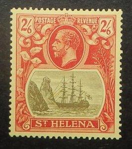St. Helena 97. 1922 2/6 Carmine and black on yellow, block watermark