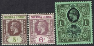 SIERRA LEONE 1921 KGV ELEPHANT 5D 6D AND 1/- WMK MULTI SCRIPT CA